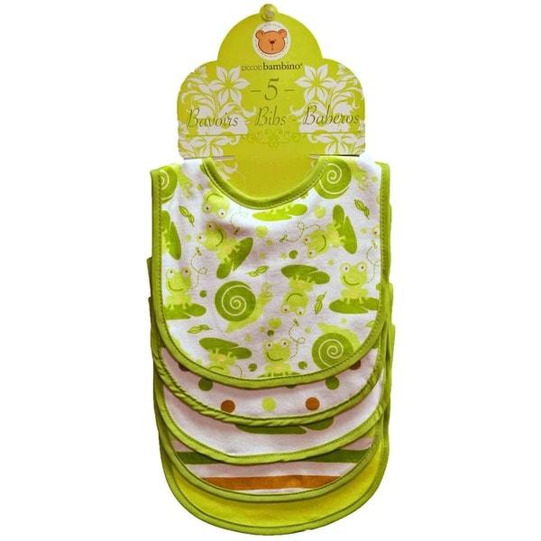 Piccolo Bambino Green Cotton Bib (Set of 5)