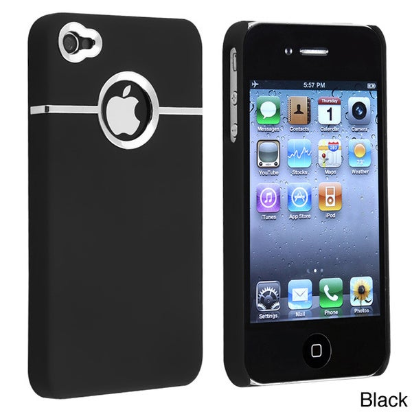INSTEN Chrome Hole Rear Rubber Coated Phone Case Cover for Apple iPhone 4/ 4S