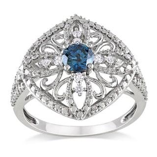 Miadora 10k White Gold 1/2ct TDW Blue Diamond Ring