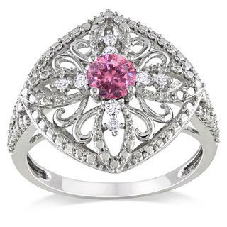 Miadora 10k White Gold 1/2ct TDW Pink and White Diamond Ring