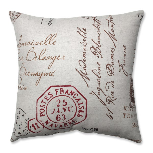 Pillow Perfect Decorative Linen/ Red French Laundry Square Toss Pillow