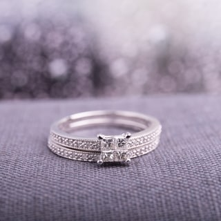 Miadora 10k White Gold 1/3ct TDW Princess-cut Diamond Bridal Ring Set