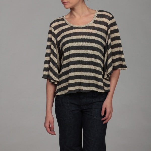 Gossip Girl Women's Oatmeal/ Charcoal Stripe Top