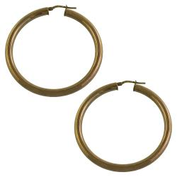 Fremada Chocolateplated Sterling Silver 4x40mm Tube Hoop Earrings