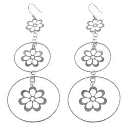 Fremada Rhodiumplated Silver Graduated Flowers/ Rings Dangle Earrings