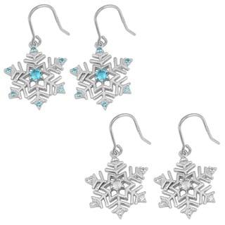 Fremada Rhodium-plated Sterling Silver Cubic Zirconia Snowflake Dangle Earrings