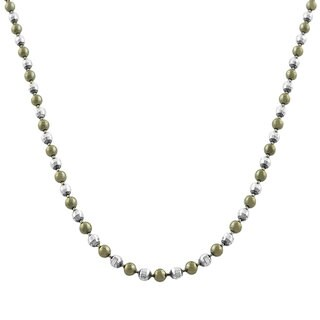 Fremada Black Rhodiumplated Sterling Silver Diamond-cut Bead Ball Necklace