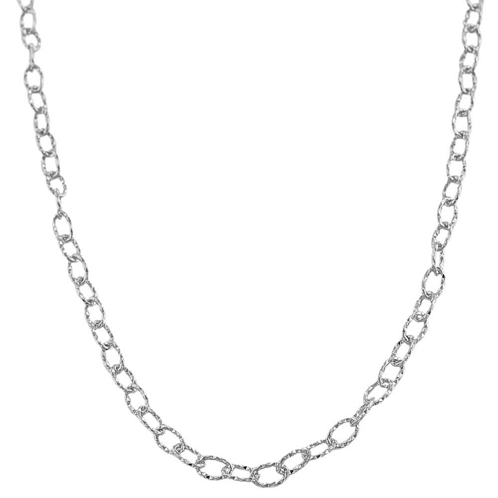 Fremada Rhodiumplated Sterling Silver Diamond-cut Filo Link Necklace