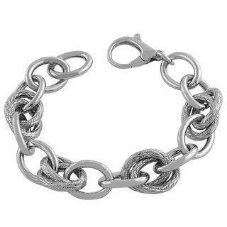 Rhodiumplated Sterling Silver Polished/ Textured Oval Link Bracelet
