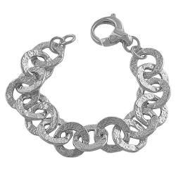 Fremada Rhodiumplated Sterling Silver Hammered Flat Rolo Links Bracelet