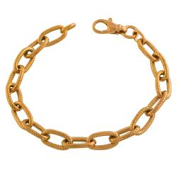 Fremada Gold over Silver Ribbed Oval Link Bracelet