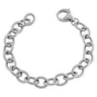 Fremada Rhodiumplated Sterling Silver Braided Oval Link Bracelet