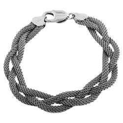 Fremada Rhodiumplated Sterling Silver Braided Mesh Bracelet