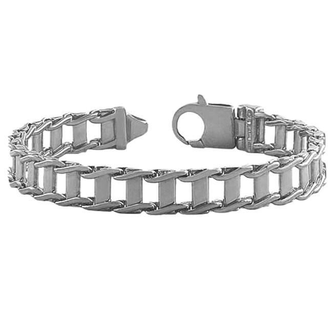Fremada Rhodium Plated Silver Men's 10 mm Fancy Link Bracelet