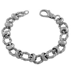 Fremada Rhodiumplated Sterling Silver Twisted Station Link Bracelet