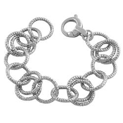 Fremada Rhodium Plated Sterling Silver Diamond-cut Rolo Link Bracelet
