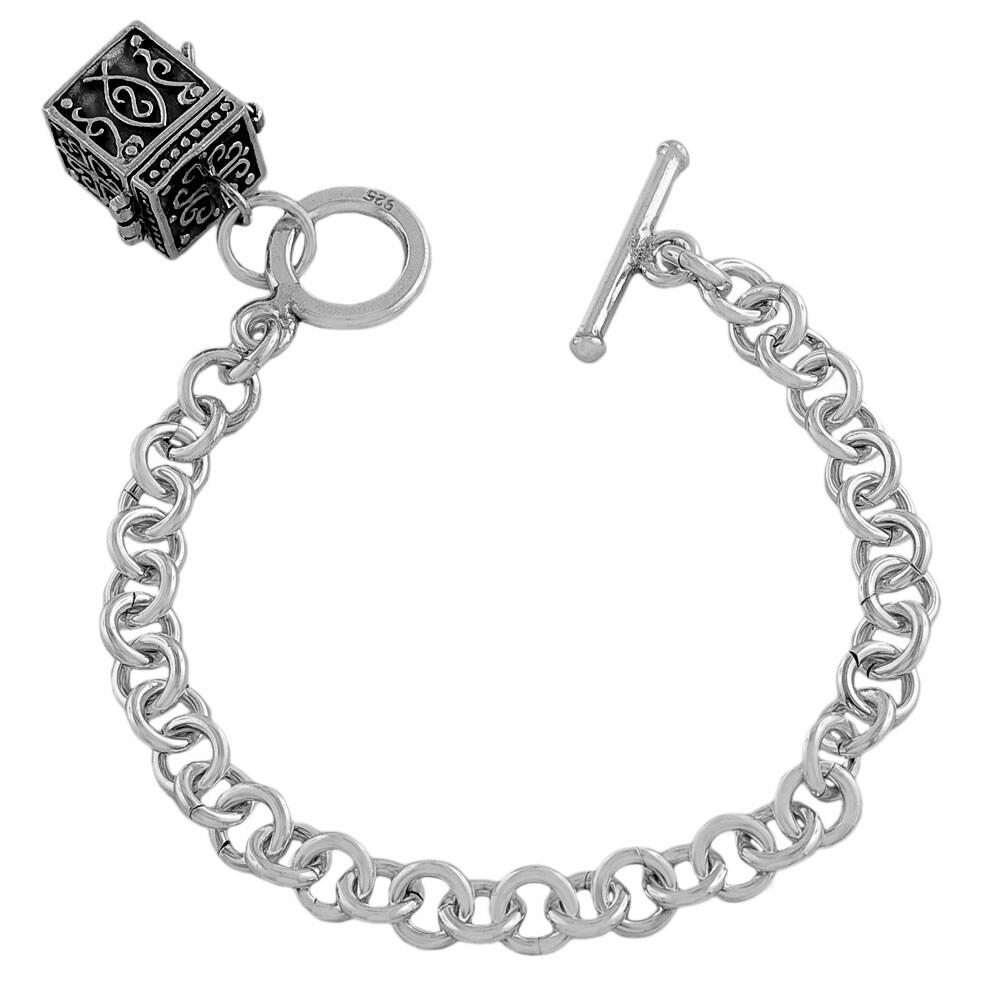 Fremada Sterling Silver Treasure Box Charm Toggle Bracelet