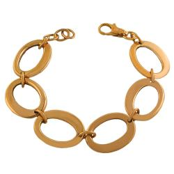 Fremada Gold over Silver Fancy Oval Link Bracelet
