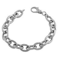 Fremada Rhodium-plated Sterling Silver Twisted Oval Link Bracelet (8-inch)