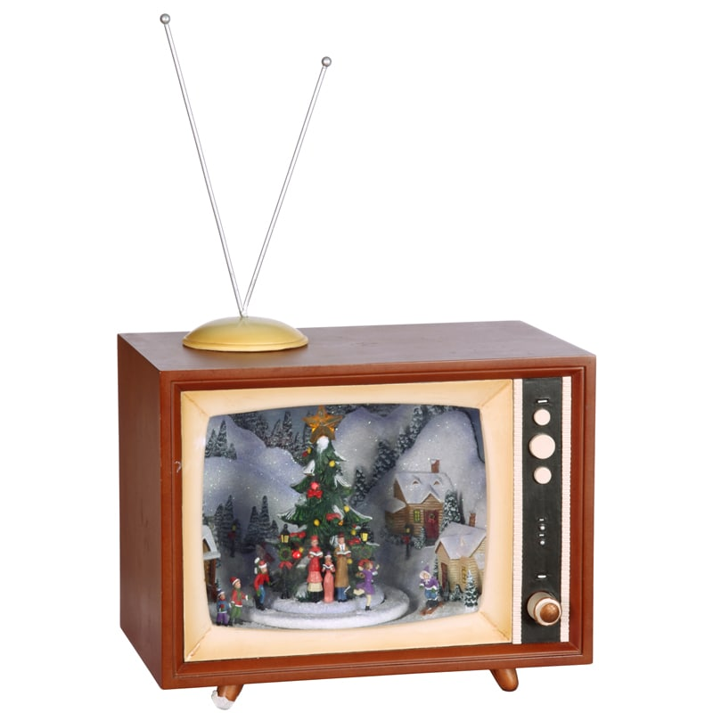 Holiday TV Music Box in Retro 15.5-inch Figurine