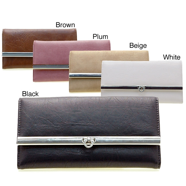 Dasein Faux Leather Flap-over Checkbook Wallet