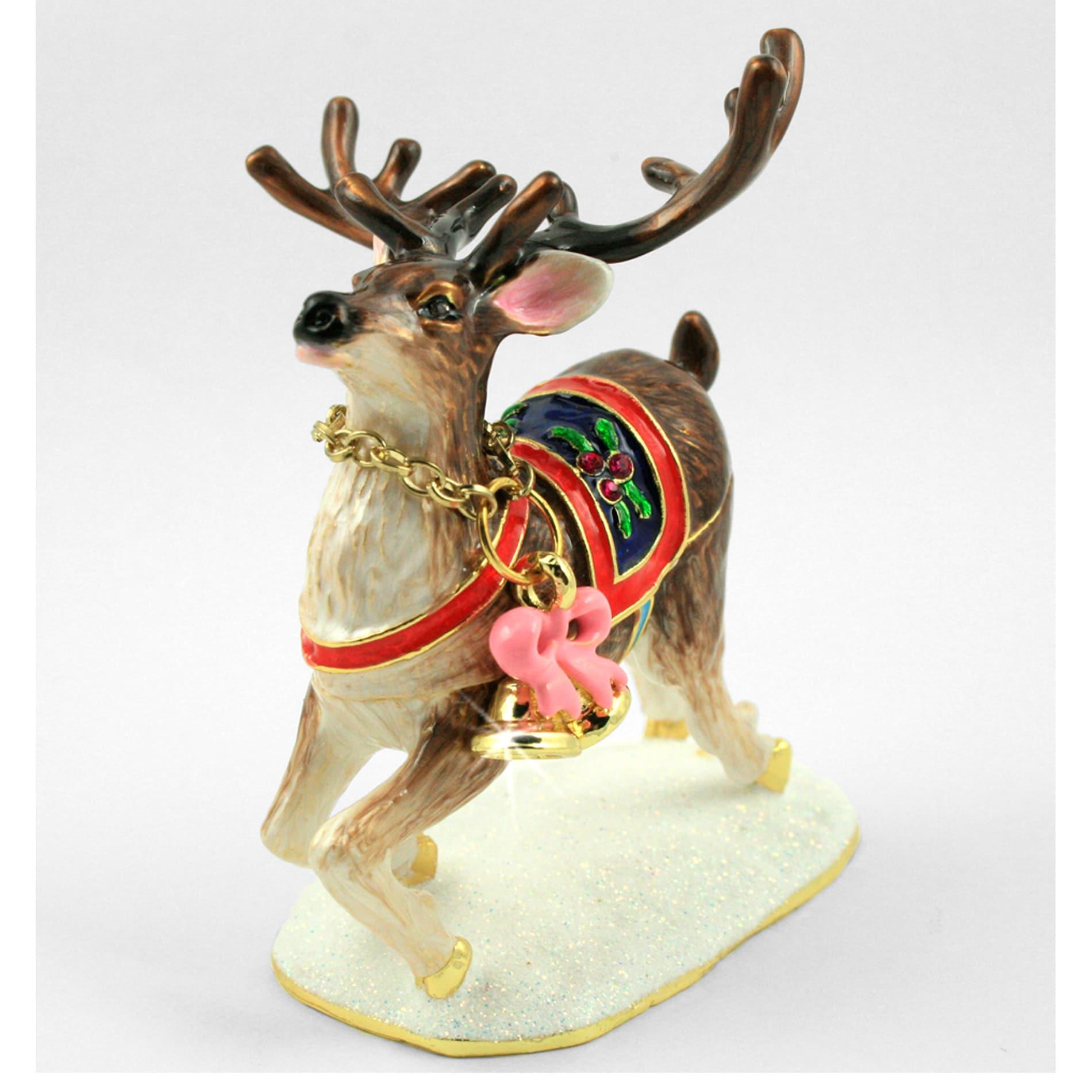 Objet d'art 'Prancer' Christmas Reindeer Trinket Box
