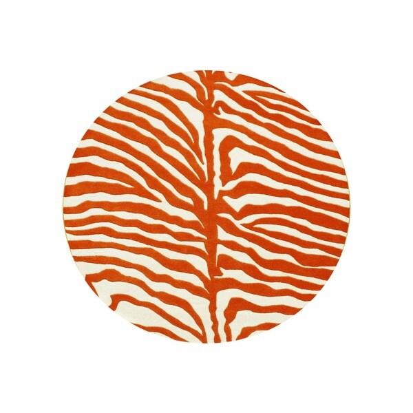Alliyah Handmade Orange New Zealand Blend Wool Rug (6' Round)