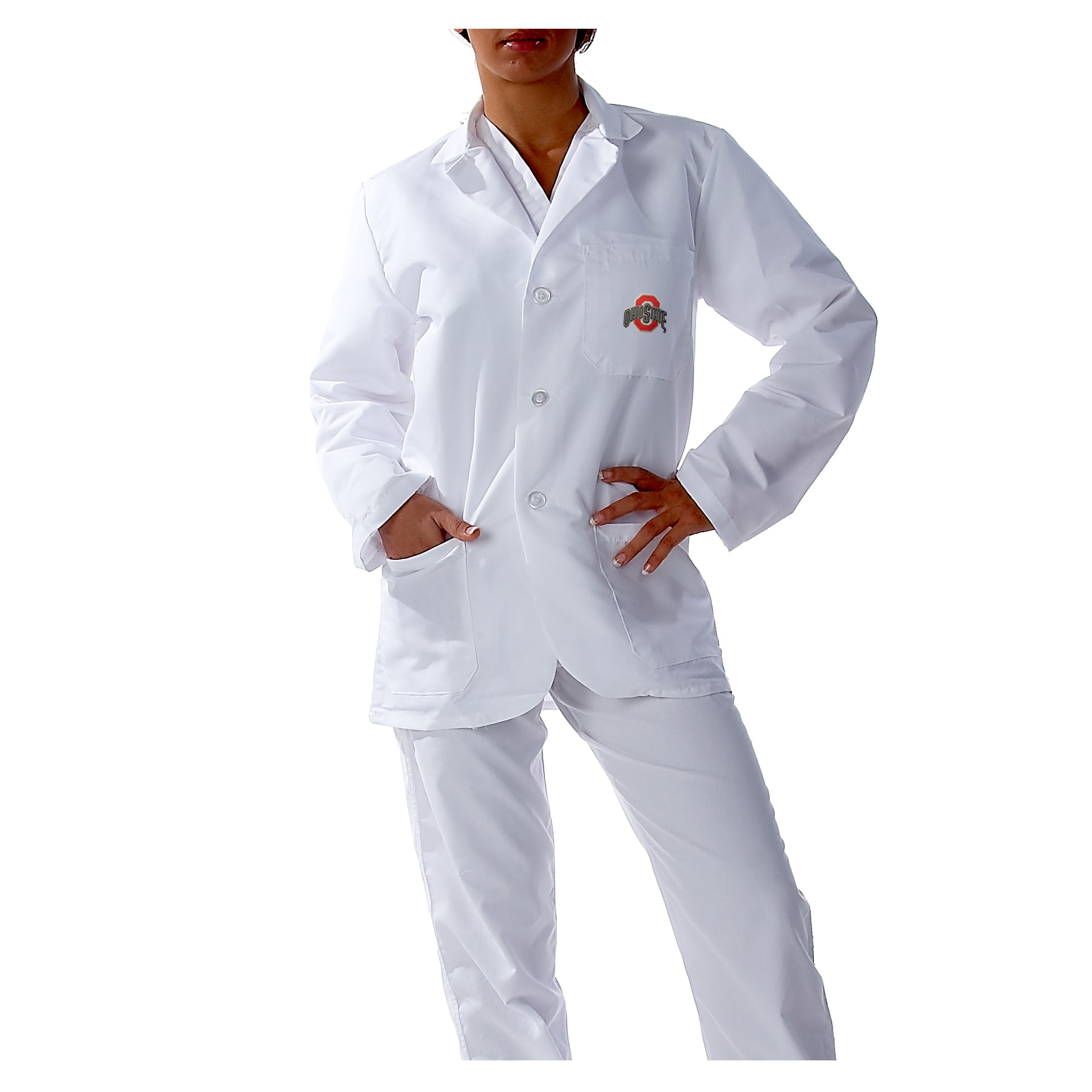 Gelscrubs Unisex NCAA Ohio State Buckeyes Officially Licensed Short Labcoat