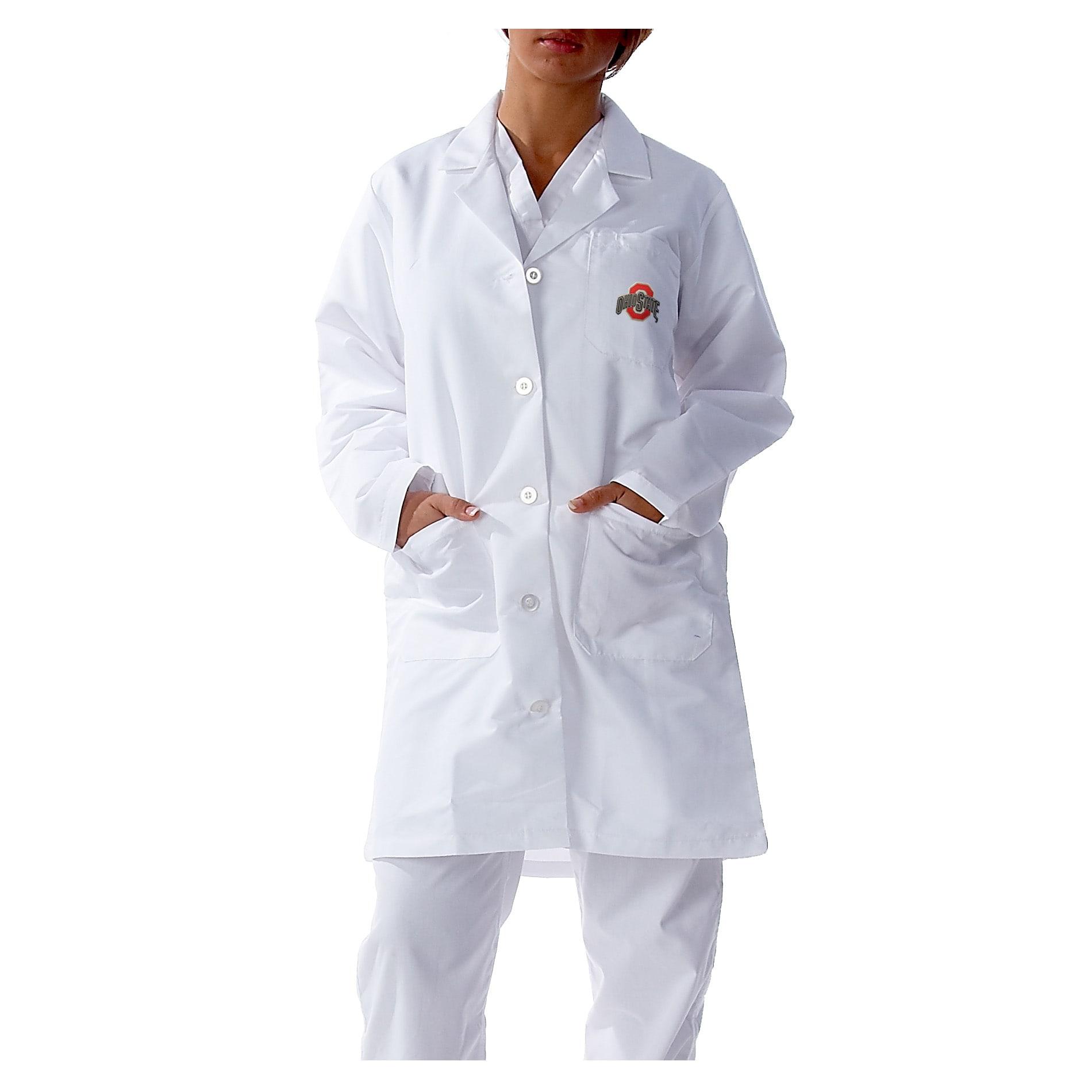 Gelscrubs Unisex NCAA Ohio State Buckeyes Long V-Neck White Labcoat