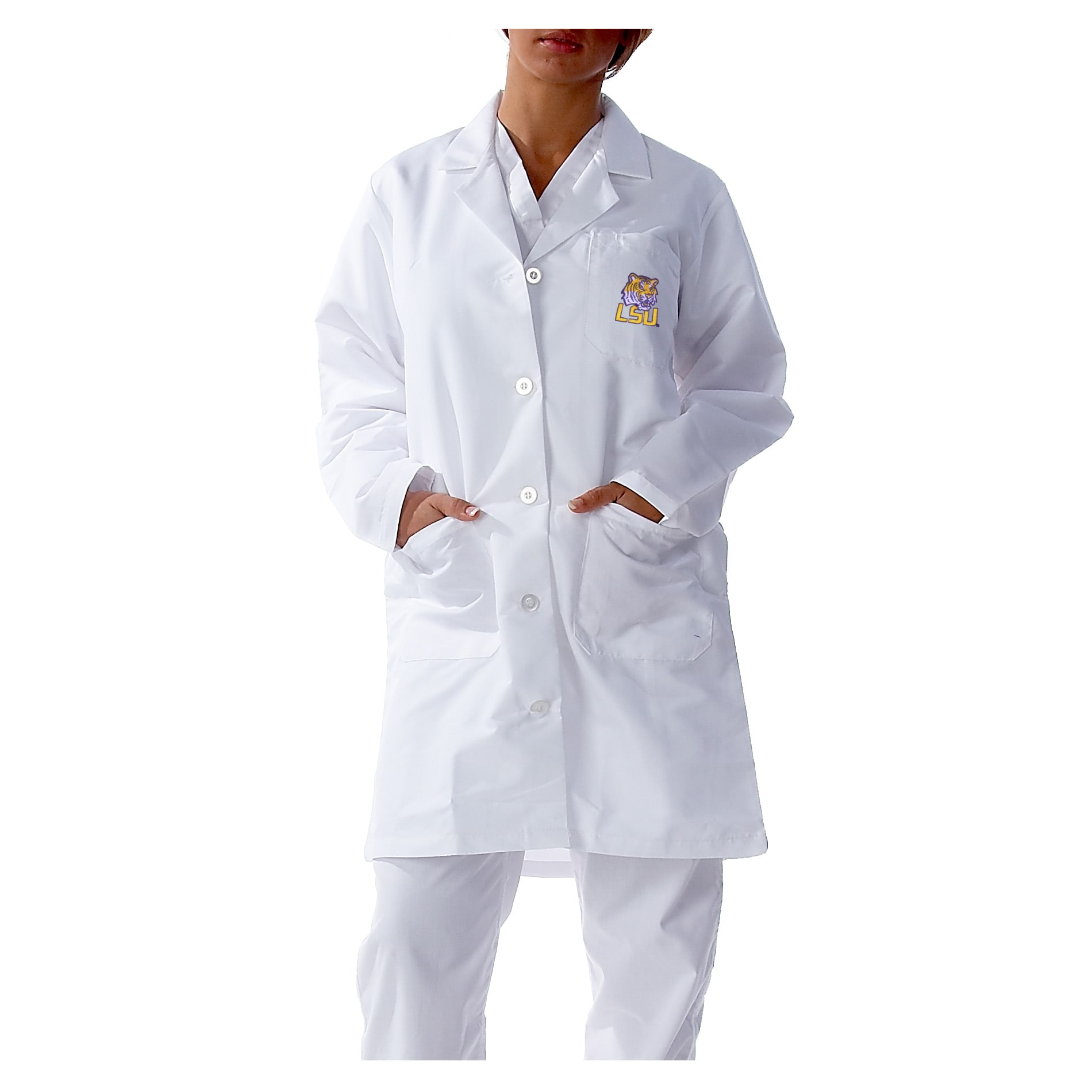 Gelscrubs Unisex NCAA LSU Tigers Long Labcoat