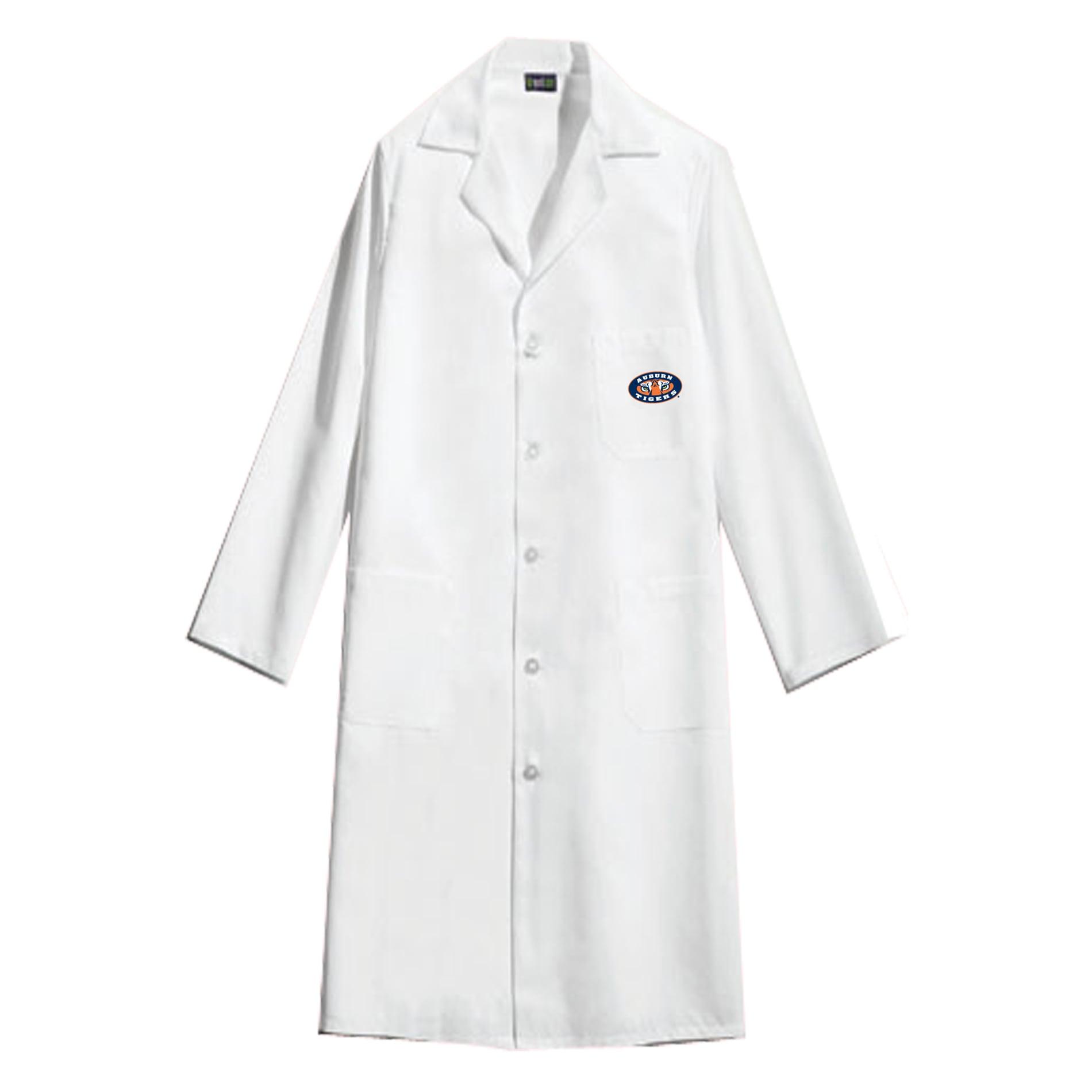 Gelscrubs Unisex NCAA Auburn Tigers Long V-Neck White Labcoat