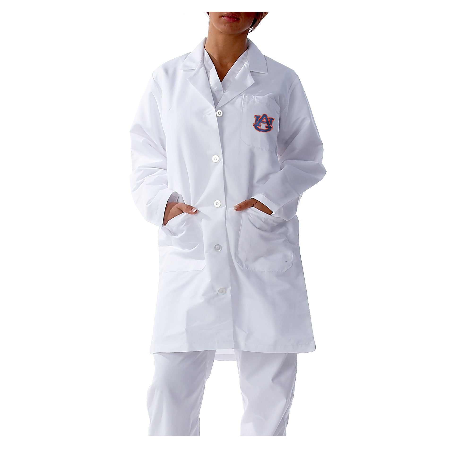 Gelscrubs Unisex NCAA Auburn Tigers Long Labcoat