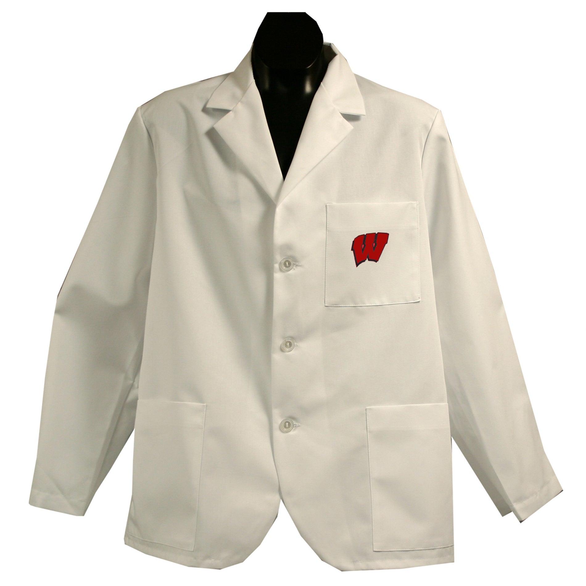 Gelscrubs Unisex NCAA Wisconsin Badgers Short Labcoat