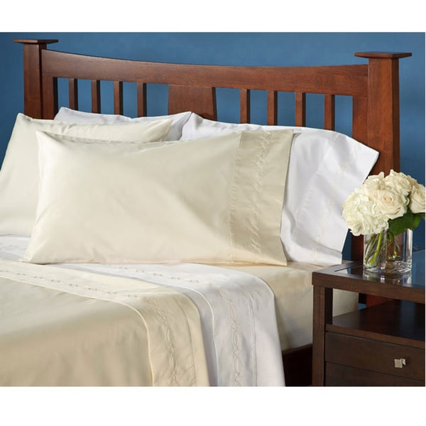 Grand Luxe Egyptian Cotton Sateen 1200 Thread Count Chain Deep Pocket Sheet Set and Pillowcase