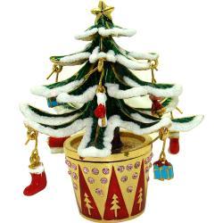 Objet d'Art 'Let it Snow' Flocked Christmas Tree Trinket Box - Thumbnail 0