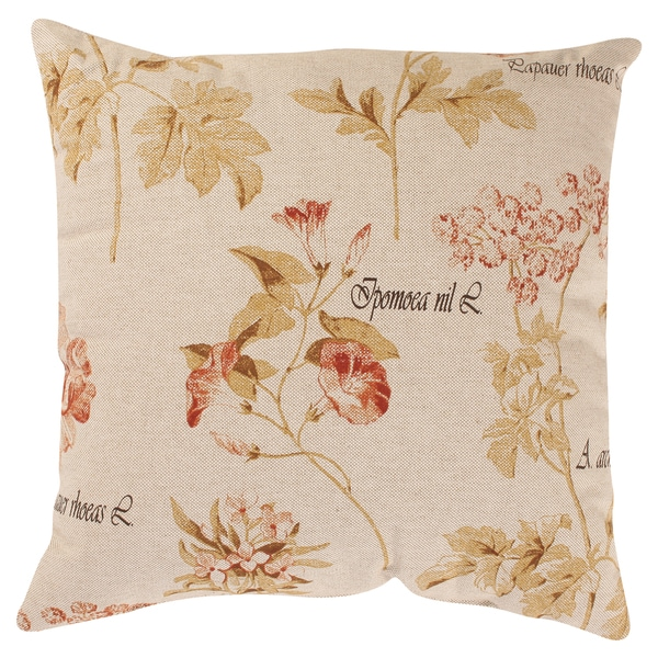 Pillow Perfect Decorative Linen/ Red Floral Square Toss Pillow