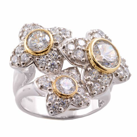 Gems en Vogue 14k Gold and Silver Cubic Zirconia Flower Ring
