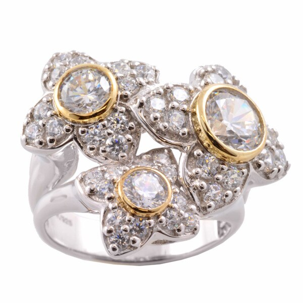 Gems en Vogue 14k Gold and Silver Cubic Zirconia Flower Ring