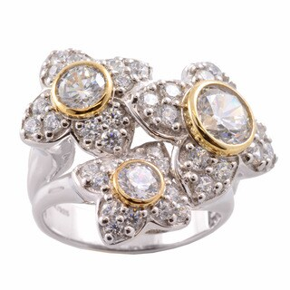 Michael Valitutti 14k Gold and Silver Cubic Zirconia Flower Ring