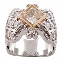 Michael Valitutti 14k Gold and Silver Cubic Zirconia Ring|https://ak1.ostkcdn.com/images/products/6388139/78/264/Michael-Valitutti-Signity-14k-Gold-and-Silver-Cubic-Zirconia-Ring-P14001138.jpg?impolicy=medium