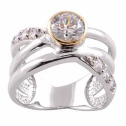 Michael Valitutti 14k Gold and Silver Round-cut Cubic Zirconia Ring
