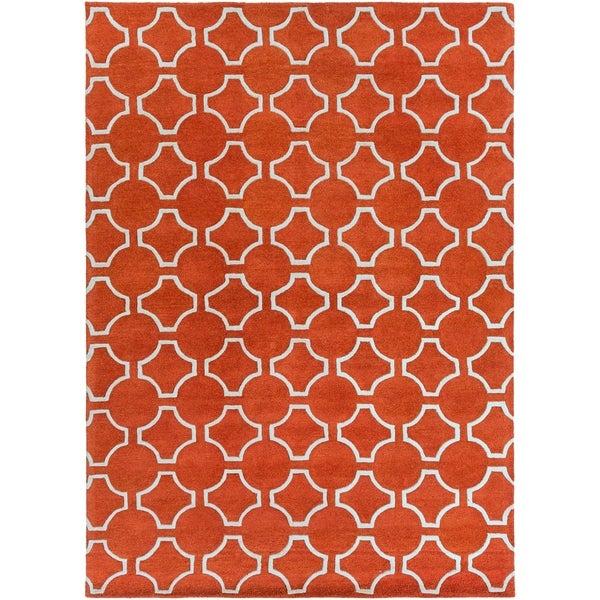 Hand-tufted Petersburg Geometric Trellis Wool Area Rug - 8' x 11'