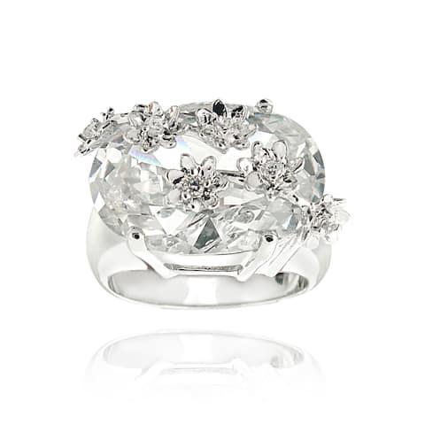 Icz Stonez Rhodiumplated Cubic Zirconia 22ct TGW Floral Ring