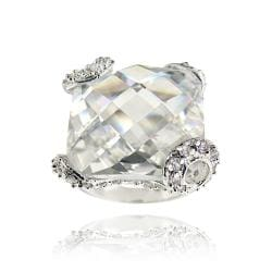 Icz Stonez Rhodiumplated Cubic Zirconia Square Ring