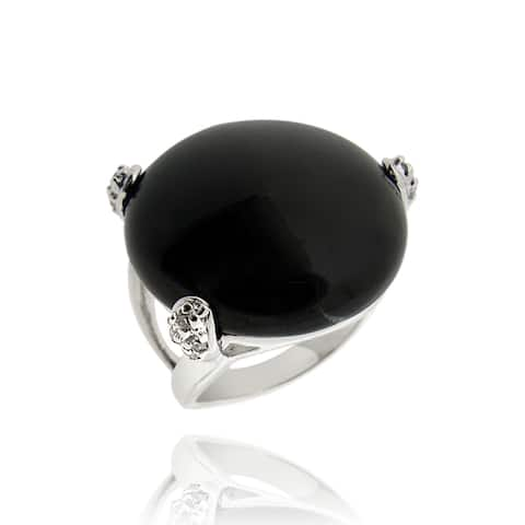 Icz Stonez Rhodium Plated Onyx and Cubic Zirconia Ring