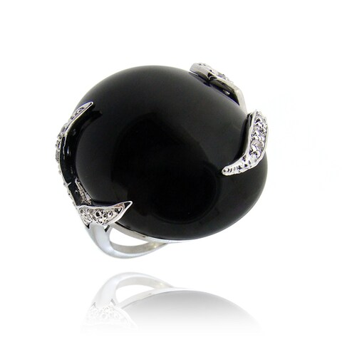 Icz Stonez Rhodium-plated Brass Onyx and Cubic Zirconia Ring