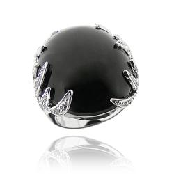 Icz Stonez Rhodiumplated Onyx and Cubic Zirconia Ring