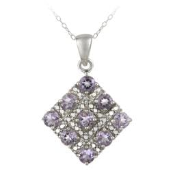 Glitzy Rocks Sterling Silver Diamond Accent Amethyst 2.25ct TGW Square Necklace