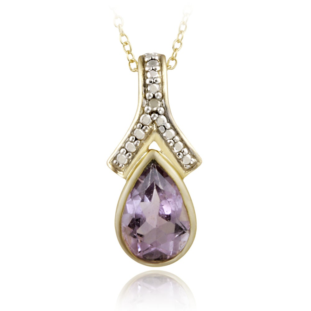 Glitzy Rocks 18k Gold over Sterling Silver Diamond Accent Amethyst 1.55ct TGW Drop Necklace