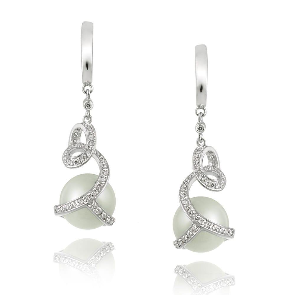 Icz Stonez Rhodiumplated Cubic Zirconia Faux Pearl Earrings